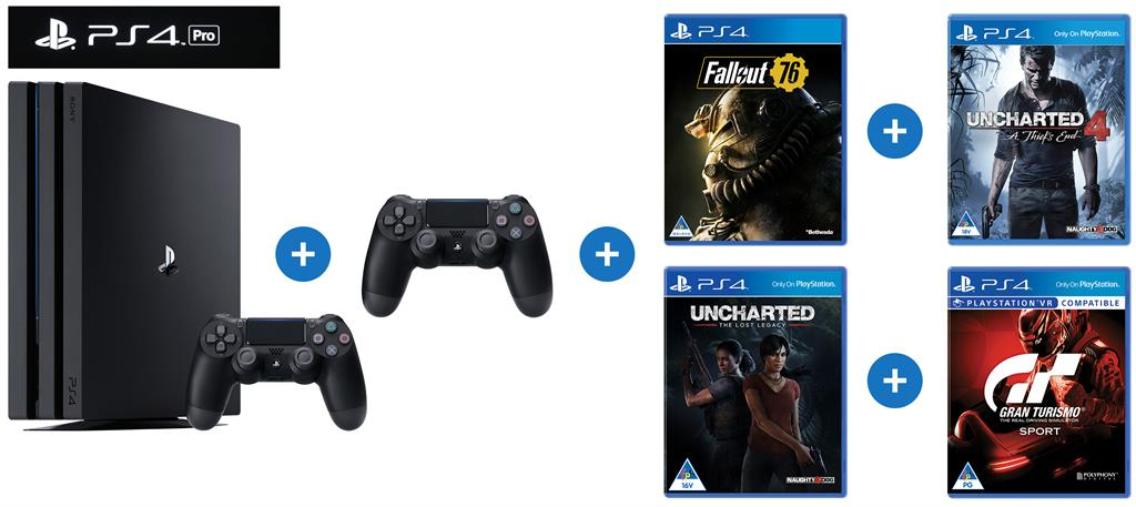 Sony Playstation 4 Pro 1tb Gaming Console With 2 X Teachtech